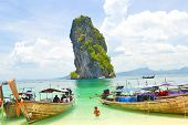 Tourism Boat On The Beach Of Krabi Province, Thailand