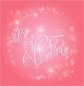 Valentine's Day Pink Background With Lights - Holiday Love Card With Calligraphic Handwritten Text B
