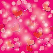 Valentine's Day Seamless Pattern With Hearts And Lights - Holiday Pink Abstract Background.