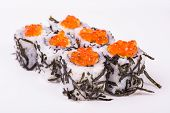 sushi roll in nori with caviar