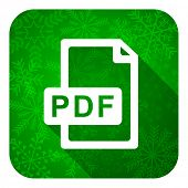 pdf file flat icon, christmas button
