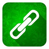 link flat icon, christmas button, chain sign