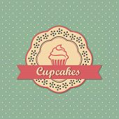 Cupcakes retro style label on retro polka dots background