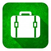 bag flat icon, christmas button, luggage sign