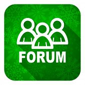 forum flat icon, christmas button