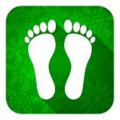 foot flat icon, christmas button