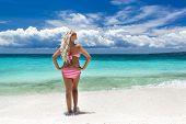 Woman In Bikini On Tropical Beach, Philippines