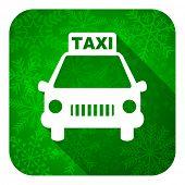 taxi flat icon, christmas button