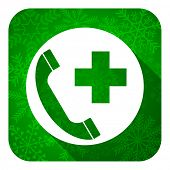 emergency call flat icon, christmas button