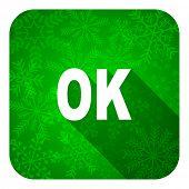 ok flat icon, christmas button