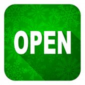 open flat icon, christmas button