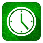 time flat icon, christmas button, watch sign