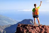 Hiking Success, Hiking Backpacker Man In Mountains