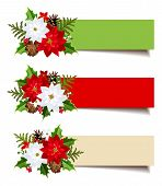 Christmas banners with fir branches, holly, poinsettia and cones. Vector eps-10.