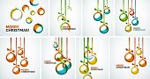 Set of Merry Christmas modern cards - abstract baubles made of wave shapes