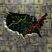 USA map with hex code and graphs on dollars illustration