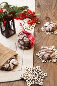 stock photo of desert christmas  - Closeup of melty Chocolate  - JPG