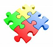 Creativity and problem solving concept of four jiwsaw puzzle pieces connected together
