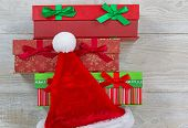 Santa Hat And Wrapped Gifts