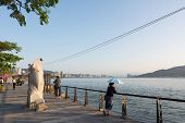 TAIPEI, TAIWAN - November 21th : The scenery of Tamsui with people, Taiwan on November 21th, 2014.