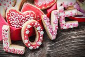 Cookies With The Word Love And The Numbers 14 Valentines Day