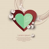 Valentines day background with paper heart and white flower.