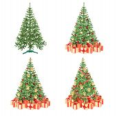 Decorated Christmas Trees Set Isolated On White
