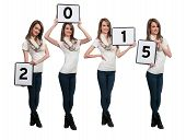 Women Holding New Years Signs
