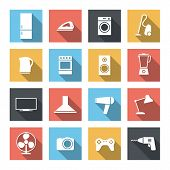 House appliance icon set. Flat design