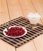 Milk with grains of a pomegranate