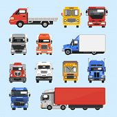 picture of motor-bus  - Truck auto delivery transport vehicles decorative icons flat set isolated vector illustration - JPG