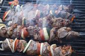 Good shish kebab. Close up.