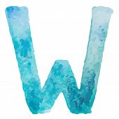 Letter W Colorful watercolor aquarelle font type handwritten hand draw doodle abc alphabet letters V