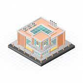 Isometric Food Market Building Vector Illustration
