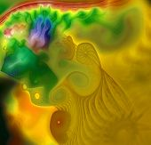 Fantastic fractal as an abstract spray and spray reminiscent of yellow jellyfish in the ocean