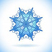 Central Asian ornament, Snowflake, Isolated design element, Vector illustration
