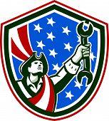 American Patriot Holding Spanner Shield Retro