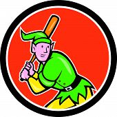 picture of hitter  - Illustration of an elf baseball player batter hitter batting with bat done in cartoon style set inside circle on isolated background - JPG