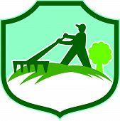 Gardener Landscaper Rake Shield Retro