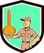 Locksmith Balancing Key Palm Shield Cartoon