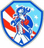 American Patriot Holding Wrench Shield Retro