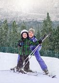 Mother With Son On The Mountain Sky Resort