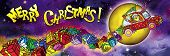 Merry Christmas Banner With Flying Santa Claus Driver And The Moon