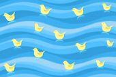 yellow ducks in water texture