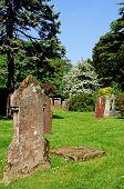 Gravestone in churchyard.