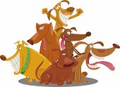 Playful Dogs Group Cartoon Illustration