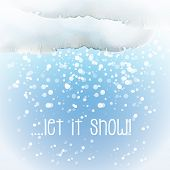 Watercolour snow cloud with snowflakes and the slogan 'Let it Snow'.