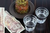 Vodka, pork aspic and money.