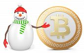 pic of bitcoin  - 3d snowman with bitcoin on white background - JPG