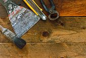 Various Diy Tools On Old Rustic Work Bench